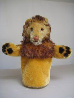 In my #ETSY Shop: #Steiff Vintage Leo Lion #Puppet – Hand-Leo Loewe – 1958 to 1965 – Older Style Raised Script Button in Ear – Glass Eyes