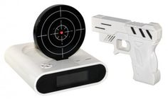 Channel your pent-up aggression against your alarm clock by silencing it with target practice Star Wars Jedi, Gadgets And Gizmos, Cool Gadgets, Cool Iphone 6 Cases, Target Practice, Take My Money, Alarm Clock, Guns, Cool Stuff