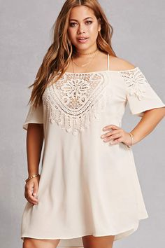 Forever 21+ - A crepe woven dress featuring an open-shoulder design, a straight neckline with a sheer front crochet insert, cami straps, short sleeves with sheer crochet inserts, and a shift silhouette.<p>- This is an independent brand and not a Forever 21 branded item.</p>
