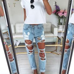 Try overly ripped denim with a plain white tee for an effortlessly cool look. Let Daily Dress Me help you find the perfect outfit for whatever the weather! dailydressme.com/