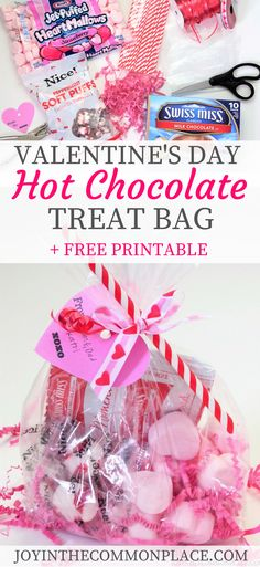 Hot Chocolate Treat Bag or Party Favor + Free Printable - Are you excited for Valentine's Day? Take a look at this easy to make Valentine's Day treat bag -Valentine's Day Hot Chocolate Treat Bag or Party Favor + Free Printable - Are you exci. Valentines Day Food, Kinder Valentines, Valentines Day Chocolates, Valentine Chocolate, Valentine Treats, Chocolate Treats, Hot Chocolate, Valentine Gift Baskets, Chocolate Basket