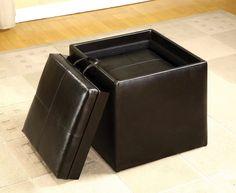 Furniture Of America Leatherette Storage Bench w/ Ottoman CM-BN6001