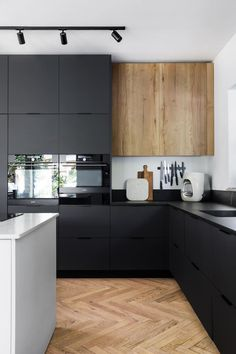 Nordic Kitchen, New Kitchen, Kitchen Modern, Kitchen Cabinet Design, Kitchen Interior, Studio Kitchen, Home Room Design, Minimalist Kitchen, Wooden Kitchen