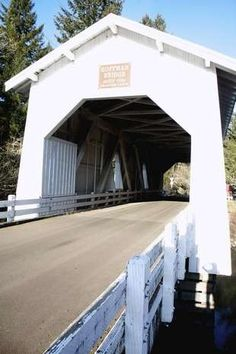 The Hoffman Bridge crosses Crabrtree Creek and is near the town of Crabtree. It has Gothic style windows , according to the state tourism site, Oregon.com .