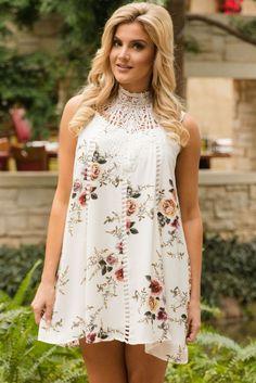 White Crochet Lace Hight Neck Floral Dress MB220046-1 – ModeShe.com