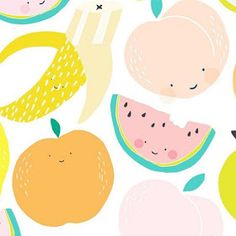 """Crushing over this super cute Fruit Salad (now I have the Wiggles stuck in my head) design from Pastel Palette inspo for a nursery!yummy yummy"""" - What's your kiddo's fave Wiggles song? Kids Art Class, Art For Kids, Fox Design, Pattern Design, Graphic Design, Cute Smiley Face, Fruit Illustration, Little Doodles, Cute Fruit"""