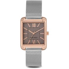 Nine West Larkinah Mesh Strap Watch (160 BRL) ❤ liked on Polyvore featuring jewelry, watches, metallic, sports wrist watch, metallic jewelry, polish jewelry, dial watches and rose gold tone watches