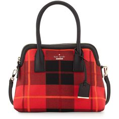 kate spade new york cameron street plaid maise satchel bag ($298) ❤ liked on Polyvore featuring bags, handbags, cherry liqueur, black satchel, cherry purse, kate spade purses, kate spade satchel and kate spade handbag