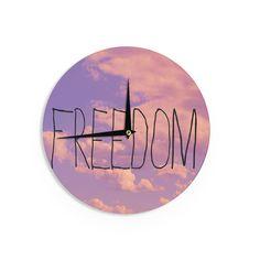 "Rachel Burbee ""Freedom"" Pink Purple Wall Clock"