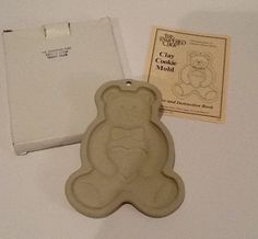 1991 The Pampered Chef Clay Teddy Bear, Heart Cookie Mold - Kitchen, Baking NIB  | eBay