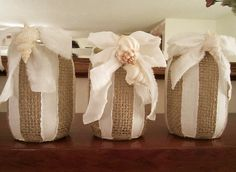 #Burlap Mason Jar Shabby Chic Rustic Chic Beach #wedding centerpiece - see the pic with candles inside... by kathyjacobson, $30.00