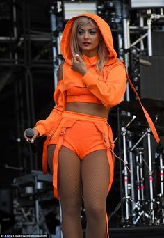 BeBe Rexha is a dream in tangerine hotpants for explosive set at V