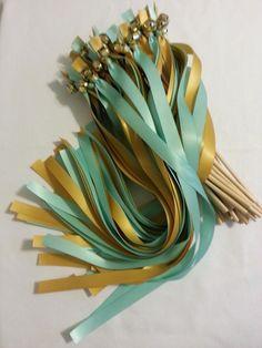 100 Ribbon  Bell Wands  ~ pick colors~  shown in Aqua (David's Mint) & Old Gold  #DivinityBraid