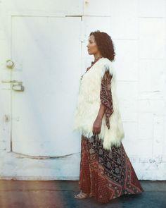 Just Say Native vintage caftan & fur vest.