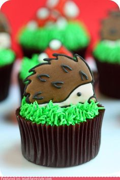 Hedgehogs are adorable under pretty much any circumstances - but even more so when they're on top of cupcakes!