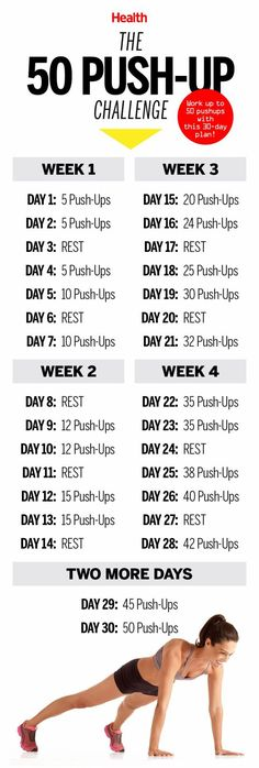 Push yourself to complete every day of this 50 push-up challenge. You'll notice that your hard work paid off when your arms look sculpted and toned in your tank tops this summer!: