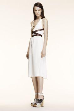 S14- ALTAZURRA White halter dress with leather trim bodice