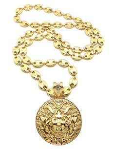 New Celebrity Style MEDUSA Pendant 10mm%2636%22 Link Chain Hip Hop Necklace RC8G