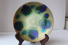 Your place to buy and sell all things handmade Enamel Dishes, Gold Background, Turquoise Color, Plates, Abstract, Artist, Handmade, Stuff To Buy, Design