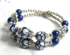 memory wire bracelet delft blue jewelry delft blue by Minouc