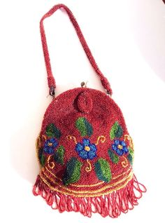 Antique Victorian Beaded Evening Bag /Mirror & coin 1890's  Burgundy Floral #Handmade #EveningBag