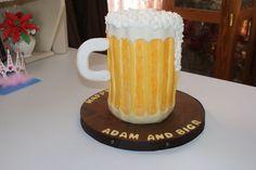 Guiness Beer Mug Cake — Birthday Cakes Guiness Beer, Beer Mug Cake, Beer Hops, Pint Of Beer, Cake Birthday, Celebration Cakes, Cake Designs, Amazing Cakes, Cake Ideas