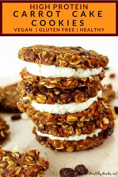This recipe for healthy high protein carrot cake is so easy to make, they'll be ready in a few minutes! This dessert is perfect if you love chewy, oaty cookies packed with nutrition, but even more packed with flavor! Perfect for the Fall (or anytime! Vegan Sweets, Healthy Sweets, Healthy Dessert Recipes, Whole Food Recipes, Healthy Protein, Whole Food Desserts, Healthy Gluten Free Recipes, Snacks Recipes, Health Desserts