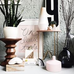 Pastel pink // rose gold // greenery // black and white // early 2015 interior trend