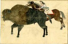 Blackfoot drawing of a buffalo hunt.  British Mus.  ac