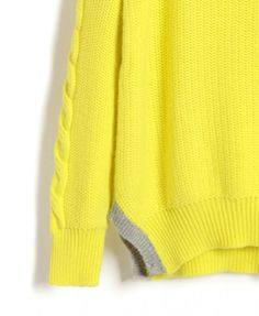 Neon Yellow Knit Jumper with Cable Knit Sleeves and Contrast Vent Hem
