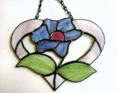 Stained Glass Heart And Flower Suncatcher