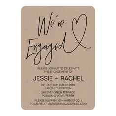 Rustic Engagement Party Invitation We're Engaged Custom order #gold #wedding #invitations Make your day special with these #Elegant #golden #weddinginvitations ideal for wedding #party #cards and #simple #weddingstationary
