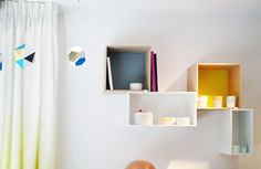 KIZUKU showroom - june 2013 - Muuto mini stacked shelf system - Artecnica Themis Trio mobile (Clara von Zweigbergk) Vevey, Shelf System, Floating Shelves, Showroom, June, Furniture, Places, Home Decor, Atelier