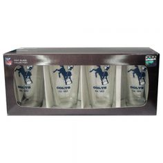 4 Pack Pint Glass NFL - Indianapolis Colts. This 4 Pack Pint Set From Boelter Has Your Team'S Favorite Logo On Each Glass. This Is A 16Oz Pint Glass That Is Satin Etched For Durability. These Come In A Boxed Set of 4, That Is A Tremendous Value. These Glasses Are Made And Printed In The Usa.  4 Pack Pint Glass NFL - Indianapolis ColtsSport Theme: FootballLeague: NFLTeam: Indianapolis Colts