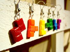 Tetris Rainbow Earring Set by UntilItEnds777 on Etsy, $14.50