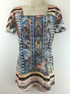 Chicos 2 Top Southwest Aztec Print Colorful Square Neck Knit Blouse 12 14 M L #Chicos #KnitTop #Casual
