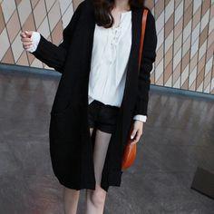 Long Ribbed Knit Cardigan by Miamasvin #Miamasvin #KoreanFashion #AsianFashion