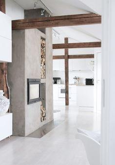 Wit, beton en prachtig oud hout!