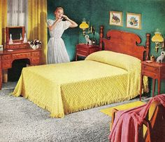 Mid Century Bedroom Furniture for Sale, Mid Century Modern Bedroom Decorating Ideas, Mid Century Bedroom Decorating Ideas, Living Vintage, Vintage Room, Bedroom Vintage, Vintage Decor, Vintage Furniture, Retro Vintage, 1940s Decor, Vintage Bedding, Handmade Furniture