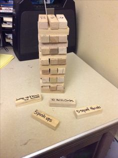 PE Jenga: students play Jenga, before placing the block on top, they perform the exercise on it.