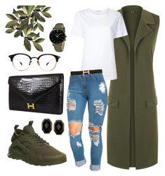 Olive Green Vest & Nike Huarache by sophistiratchet on Polyvore