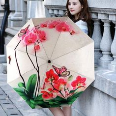 Folding Compact Umbrella Windproof Rain/Clear Parasol Butterfly Orchid Umbrella