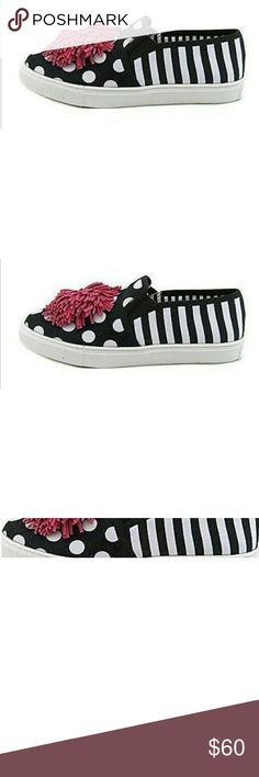 Betsey Johnson  Womens Sneakers Polka-dot and striped sneakers with adorable pom pom. Betsey Johnson Shoes Sneakers