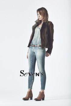 Perfecto cuir et laine DIESEL - Combi jean DIESEL - Bottines PALLADIUM  www.boutiques-sevens.com   #perfecto #cuir #diesel #leather #ceinture #diesel #bottines #palladium #jean #combi #brown #women #winter15 #mode15 #fashion #mode #sevens