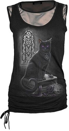 Spiral Direct Witch Cat Kitty Gothic Familiar Black Fine Mesh Vest Top Tshirt | eBay, XL