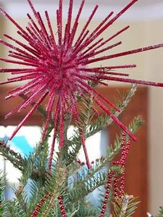 Pink Christmas  made these in Girl scouts in the 60's  Sprayed with fake snow!