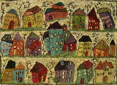 """Little Houses  24 x 35""""  by Sharon A Smith   as seen on Rug Hooking Daily  wonderful whimsey"""