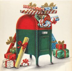 Christmas mail time. Vintage Greeting Cards, Vintage Christmas Cards, Christmas Greeting Cards, Christmas Greetings, Christmas Mail, Christmas Delivery, Christmas Stuff, Box Packaging, Scrapbook Pages