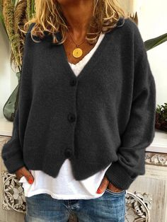 Casual tops for women - Women casual tops tunic sweater cardigan – Casual tops for women Cardigan Plus Size, Cardigan Casual, Cardigan Long, Long Sweater Coat, Loose Knit Sweaters, Cardigan Sweaters For Women, Casual Sweaters, Cardigans For Women, Long Sleeve Sweater