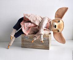 Купить Хитрюшка фенек Фифи ( коллекционная кукла лисичка из паперклея) - бежевый, кукла